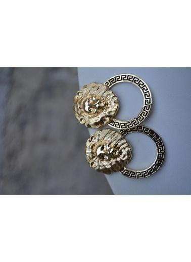 Stoneage Bayan Küpe Altın Kaplama Aslan Figürlü Altın